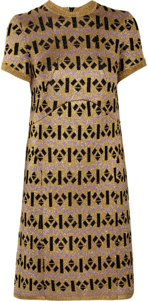 marni Metallic Cottonblend Knitted Intarsia Dress - Lyst