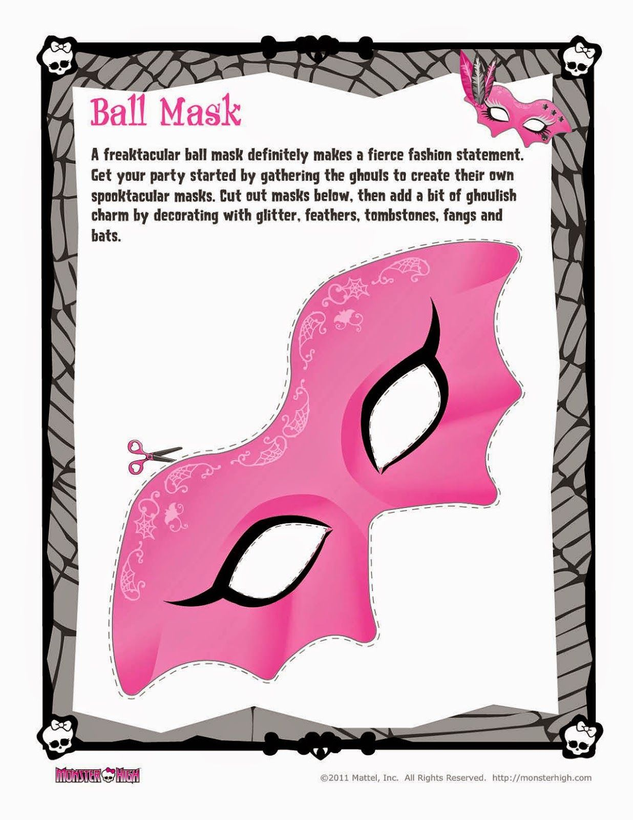 Monster high free printable ball mask carnevale masks pinterest monster high free - Masque monster high ...