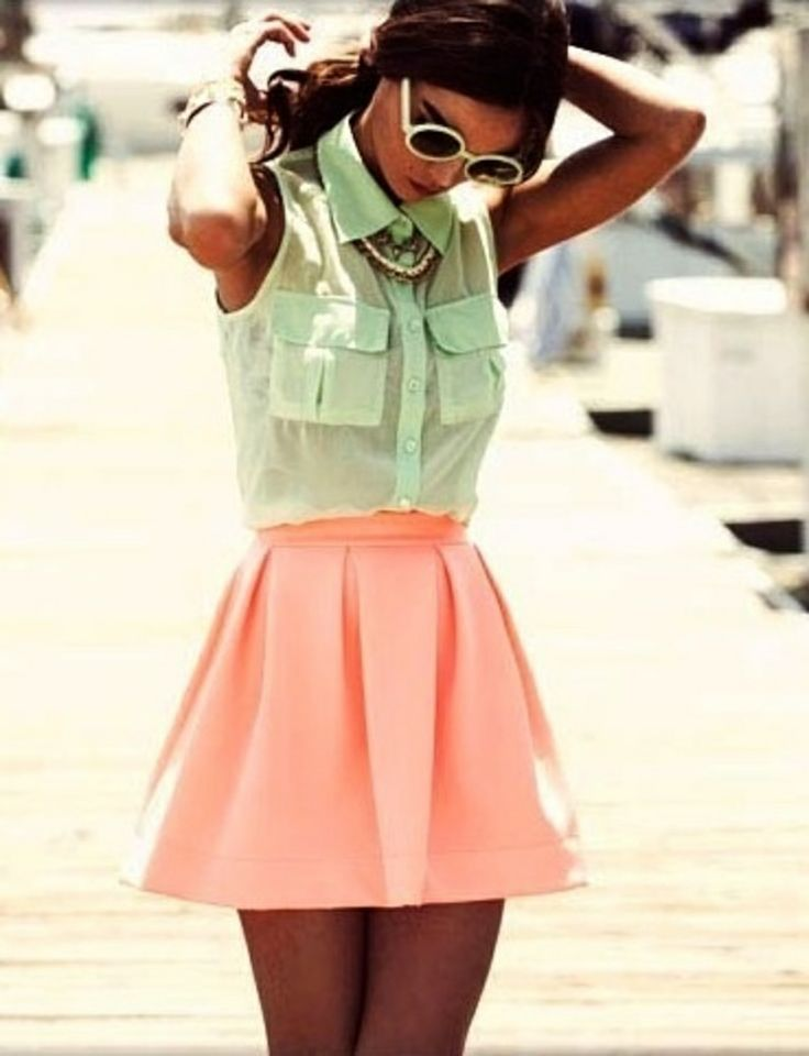 pastel green blouse with pastel pink skirt. <3