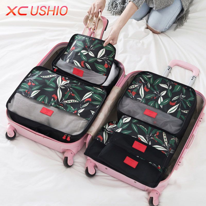 Lovely 6pcs/set Floral Pattern Travel Storage Bag Set Luggage Divider Container  Travel Suitcase Organizer Clothes Pouch Storage Case