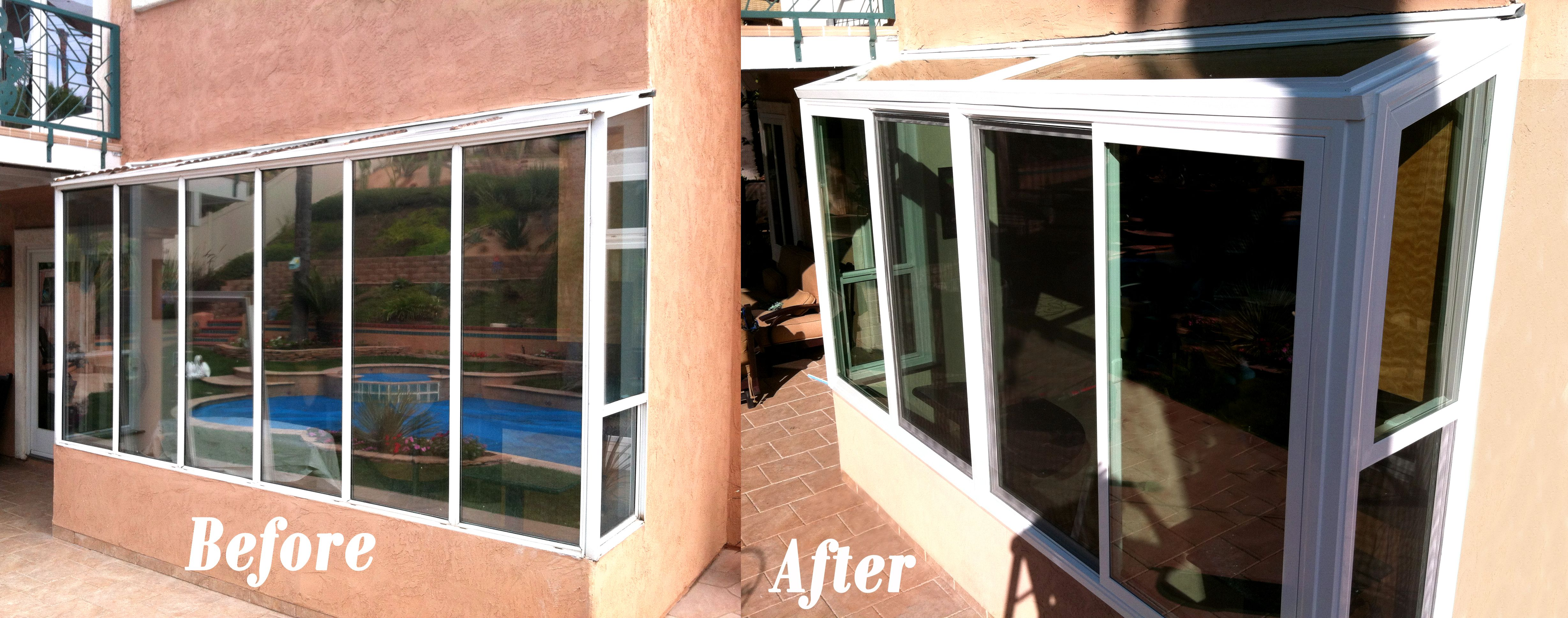 Before And After Photo Of A Tuscany Vinyl Atrium Window Replacement In Oceanside Ca Windows Atrium Windows Windows And Doors