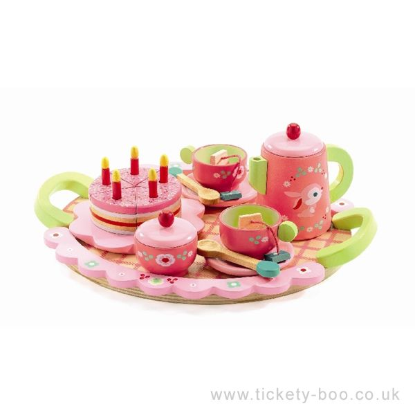 Your child will love this charming solid wood tea set.  Includes a pink and green patterned tray with handles, a teapot, sugar bowl, 2 tea cups, 2  saucers, 2 spoons, 2 tea bags, and a pink birthday cake with candles.  Suitable From 4+ years Dimensions 29 x 23cm Brand Djeco Product Code DJ06639 Barcode 3070900066397