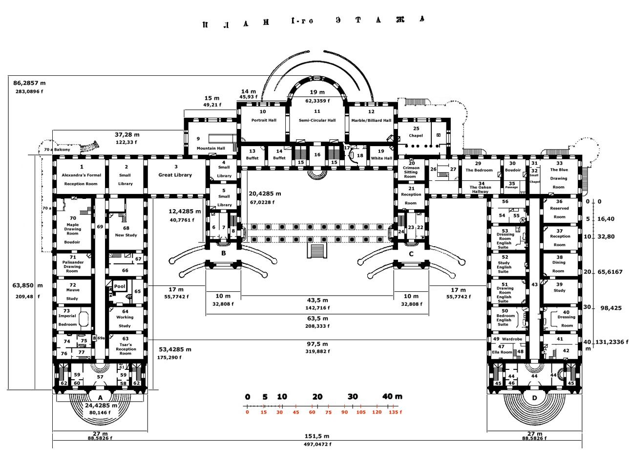 Floor Plans Of The Alexander Palace 716af57fa005 Jpg 1292 923 Architectural Floor Plans Romanov Palace Mansion Floor Plan
