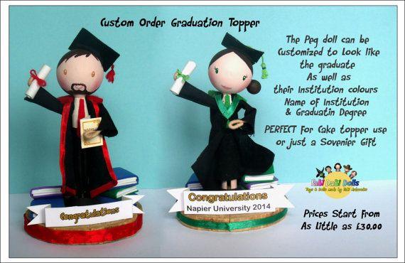 Graduation topper / ornametal peg doll by totallyfabi on Etsy, £25.00
