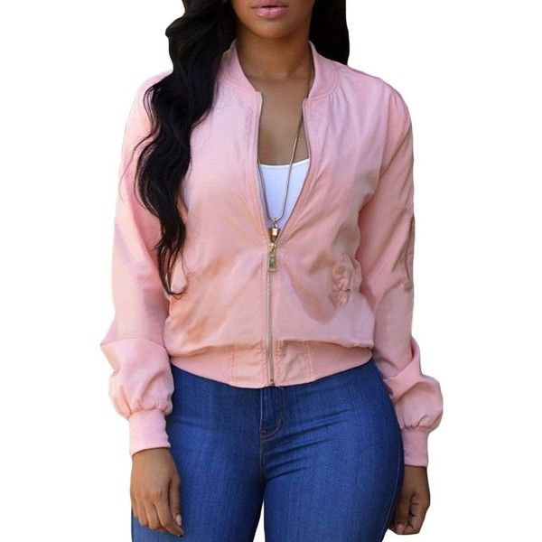 Women Pink Pocket Long Sleeve Cropped Bomber Jacket ($23) ❤ liked on Polyvore featuring outerwear, jackets, bomber style jacket, long sleeve jacket, bomber jackets, pink cropped jacket and cropped jacket