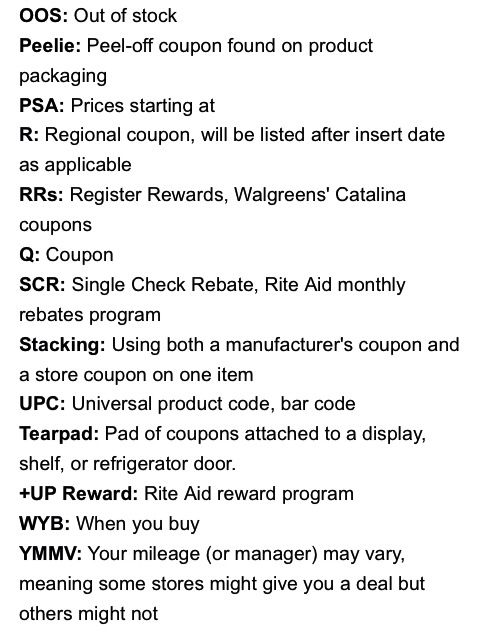 2 Of 2 Coupon Lingo And Abbreviation Meaning Couponing Coupons