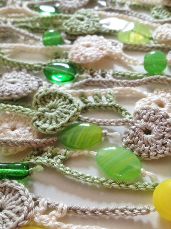 Nature Hearted Beaded Crochet Summer Scarf By Gabycrochetcrafts