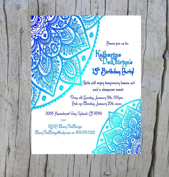 Set Of 10 Cute Mehndi Henna Invitations Mehndi Invite