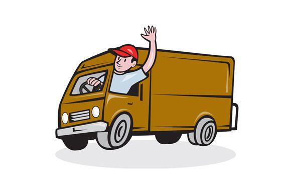 Delivery Man Waving Driving Van Cart Delivery Man Man Vans