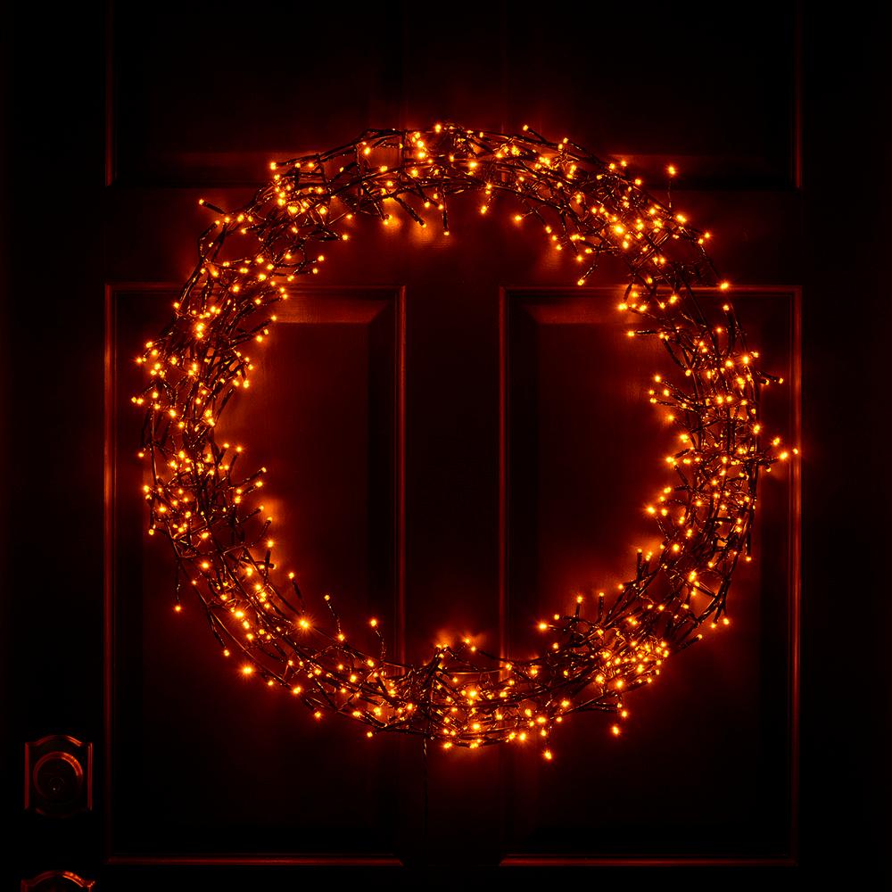 Halloween Light Show 2020 The Ultrabright Halloween Light Show Wreath   Hammacher Schlemmer