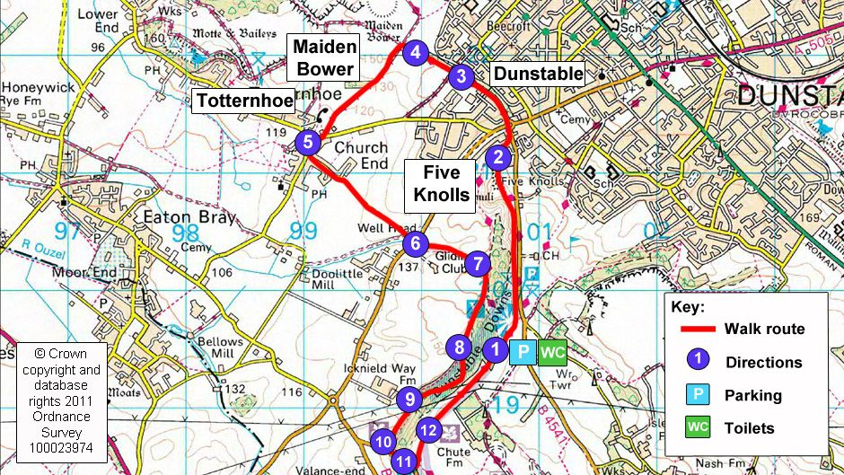 Route map for Dunstable Downs countryside walk Health Walking