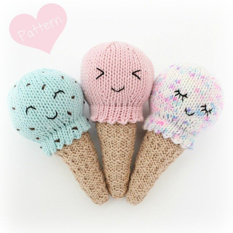 Free Knitting Pattern – Kawaii Ice Cream Cone Baby Rattle Knitted Toy