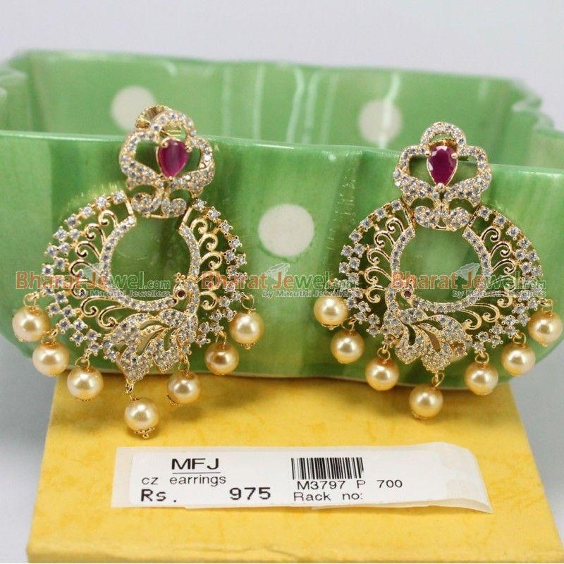 peacock design zircon ruby stones earrings online bharatjewel