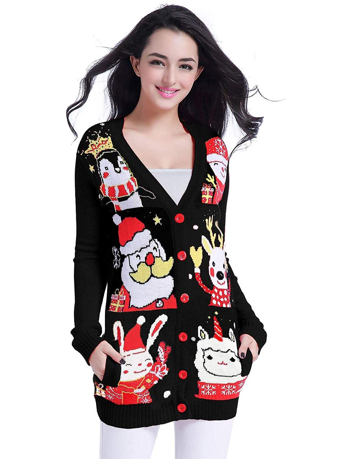 a974a4f46 Soft Acrylic Button-Down closure Funny Cute Ugly Christmas Sweater ...