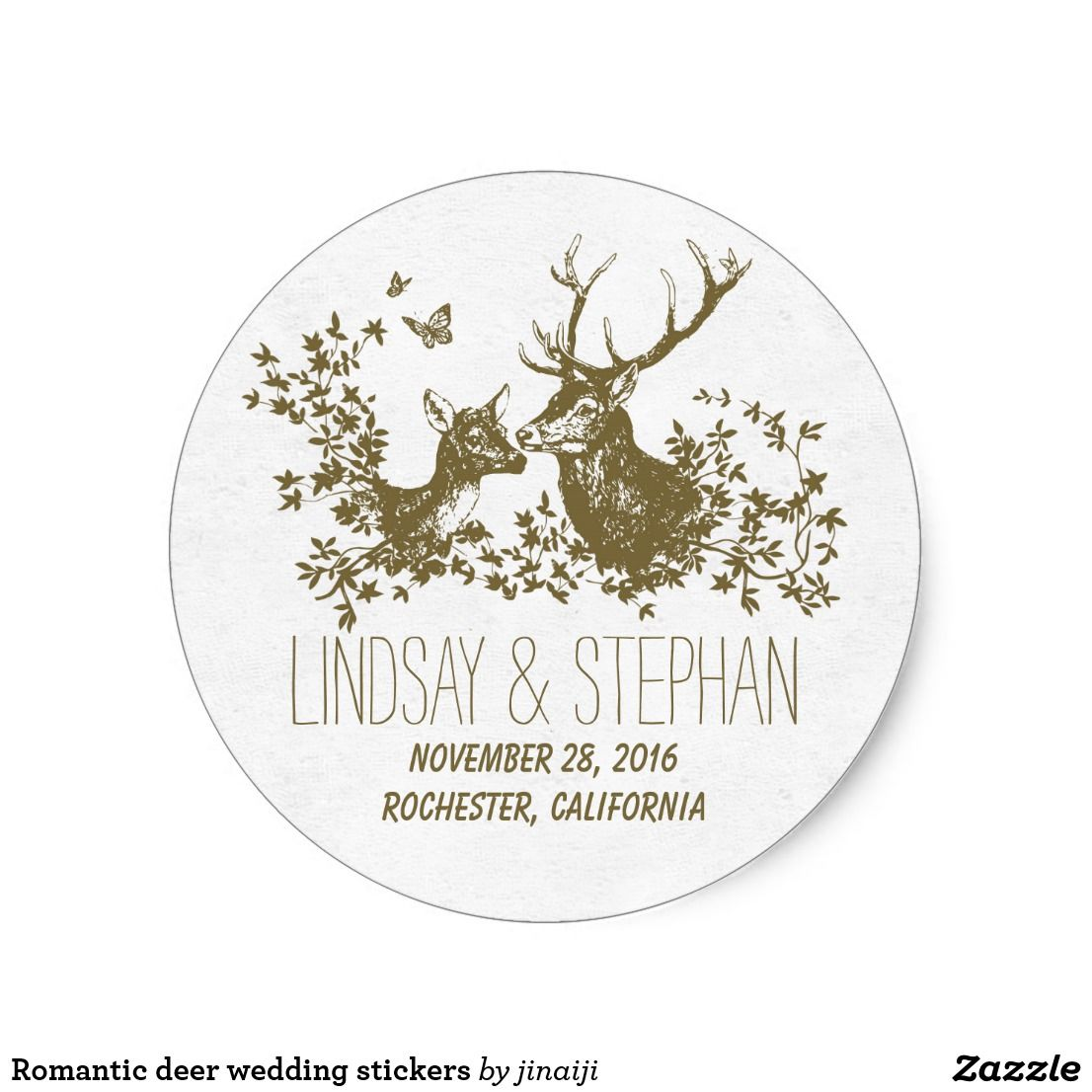 Romantic deer wedding stickers rustic country deer - buck and doe ...