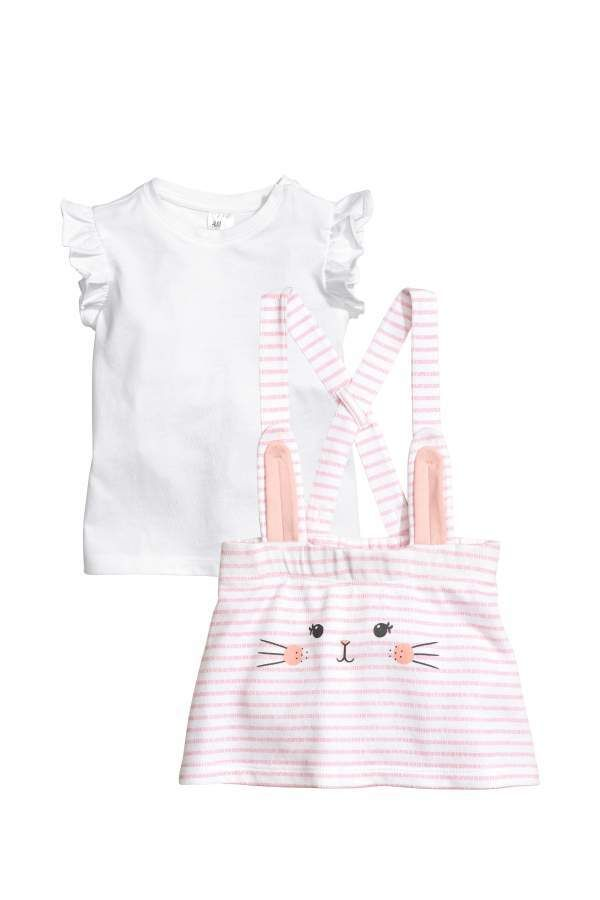 50e1b7dbf H   M - Bib Overall Dress and Top - Light pink rabbit - Kids   elasticized Dress jersey