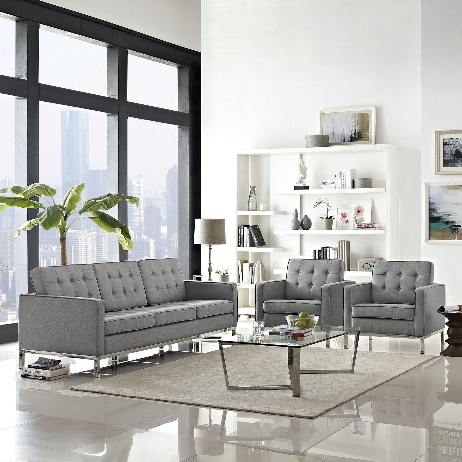 Modway Loft Living Room Set Fabric Set of 3 (Granite), Beige Off ...
