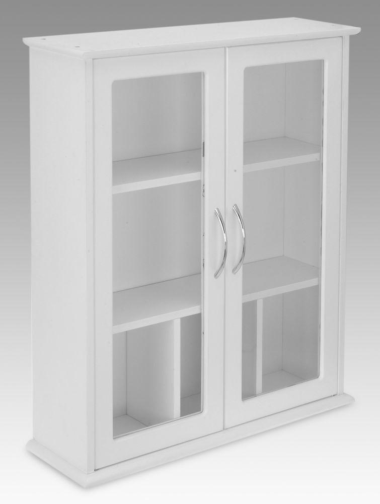 White 2 Door Wall Mounted Bathroom Cabinet With Glass Doors