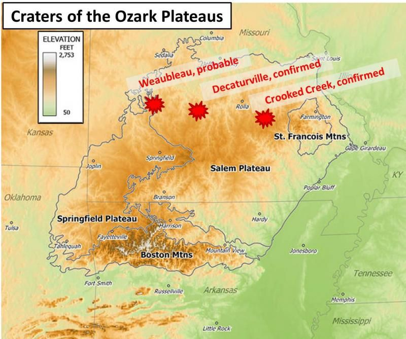 Decaturville Crooked Creek Weaubleau Crater Of The Ozarks - Us hillbilly map