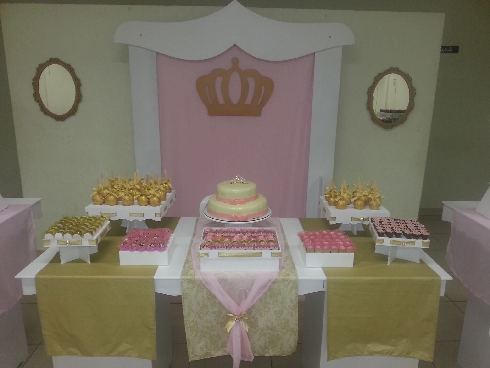 Gold & Pink Princess Birthday Party dessert table