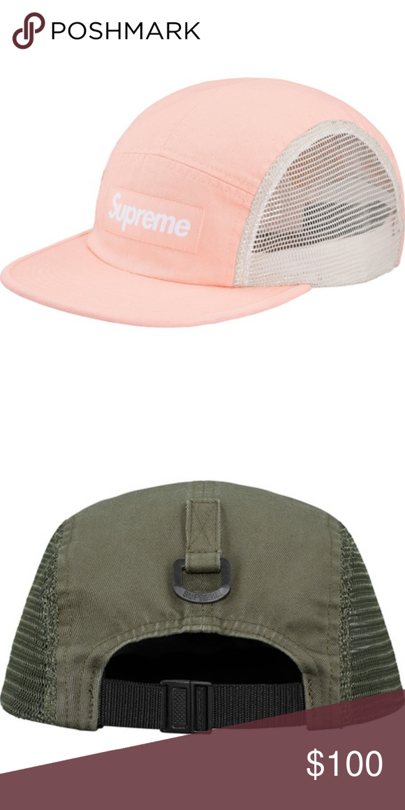 cb9fa4d207e SUPREME - Pink Peach Logo Flatbill Hat Supreme Mesh Side Panel Camp Cap  Style  Light Peach Cotton and mesh Supreme camp cap with plastic D-ring at  back ...
