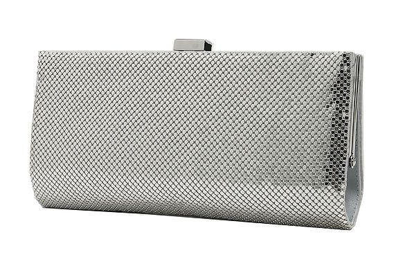 Metallic Silver Clutch By Whiting & Davis Hire
