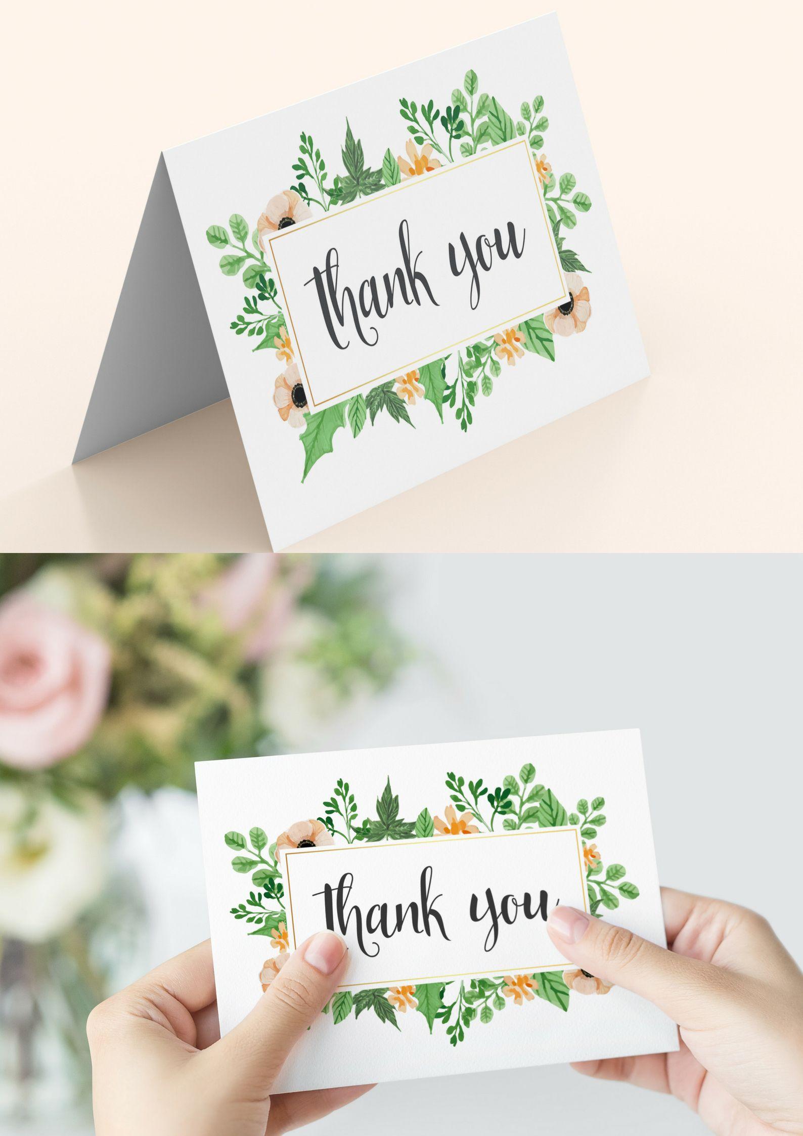 printable thank you card folding or flatwedding thank you