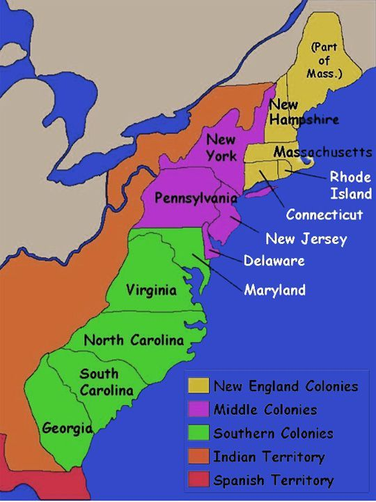 13 Original Thirteen Colonies Map | Re: 13 colonies and Canadian ...