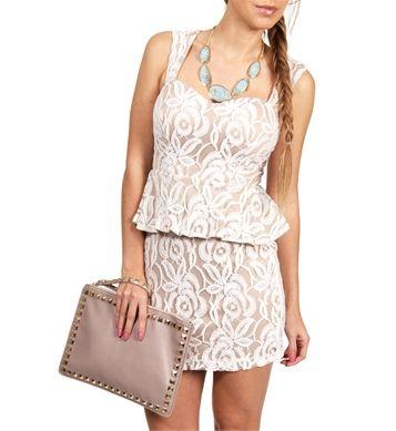 Ivory/Nude Lace Peplum Dress