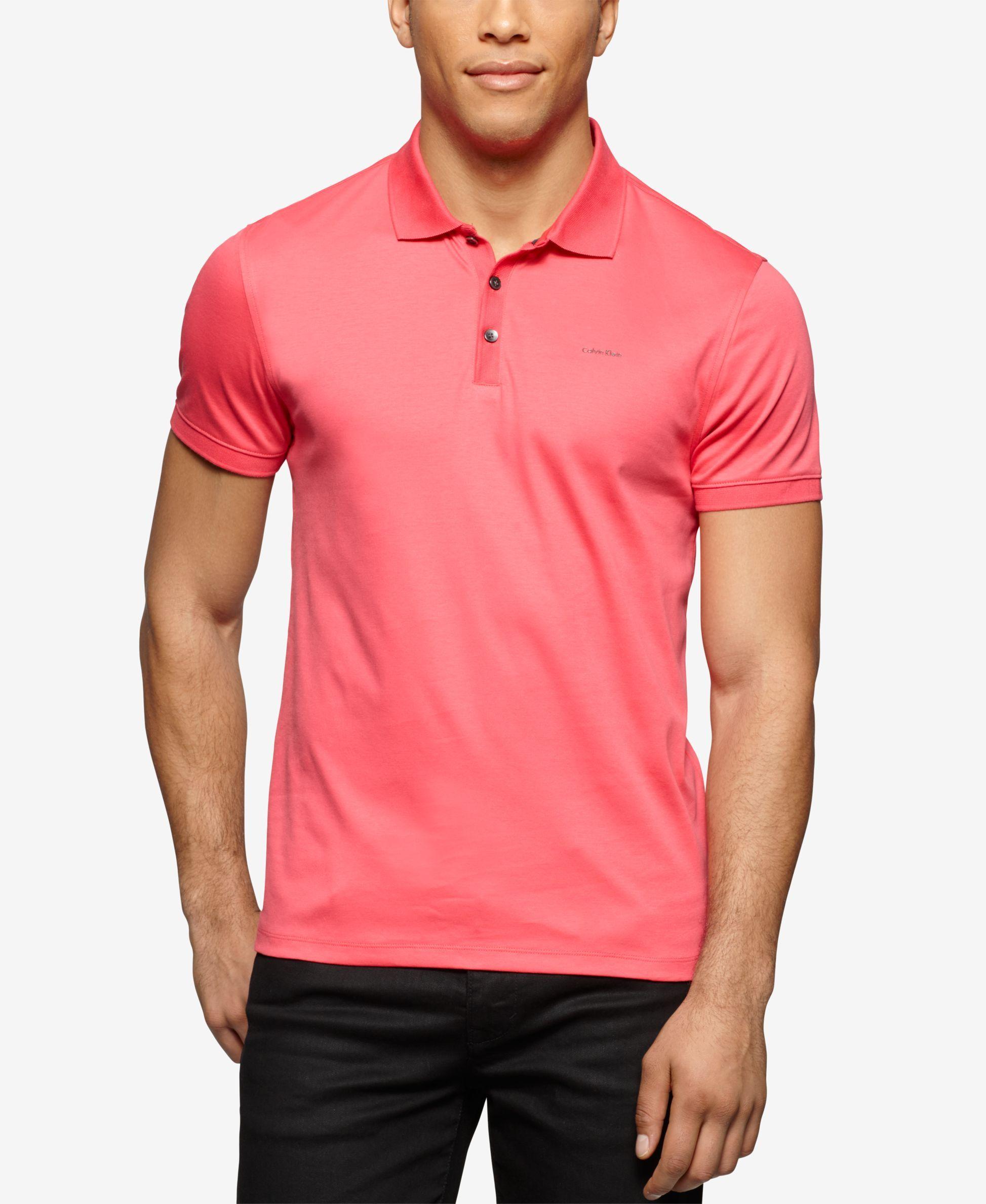 Calvin Klein Solid Jersey Interlock Liquid Cotton Polo