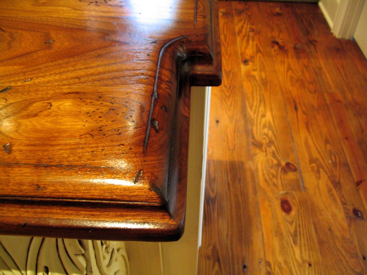 Wood Countertop Edging Distressed Walnut Countertop Edge Detail Close Up Large