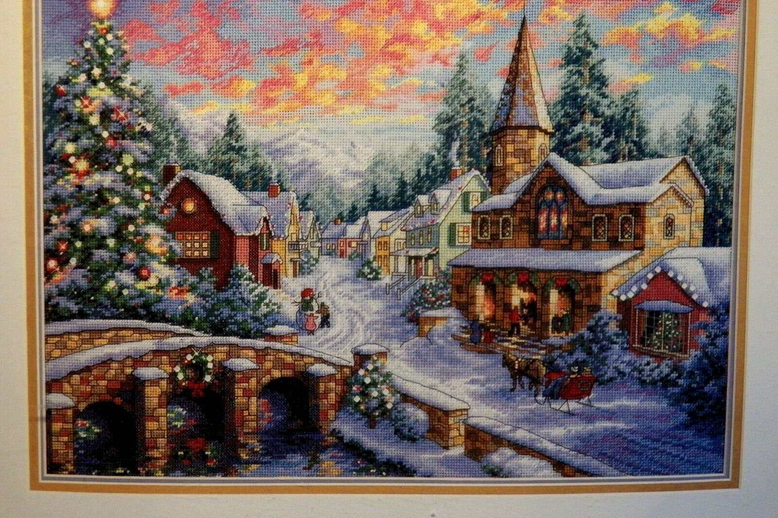 Dimensions Gold Collection Counted Cross Stitch Kit Holiday Village Christmas Cross Stitch 16 Count Dove Grey Aida 12 x 16
