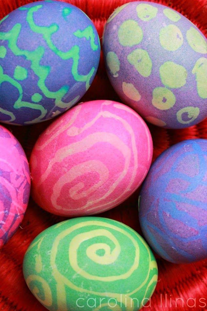 Huevos de Pascua con silicona caliente #Artividades Proyectos - huevos decorados