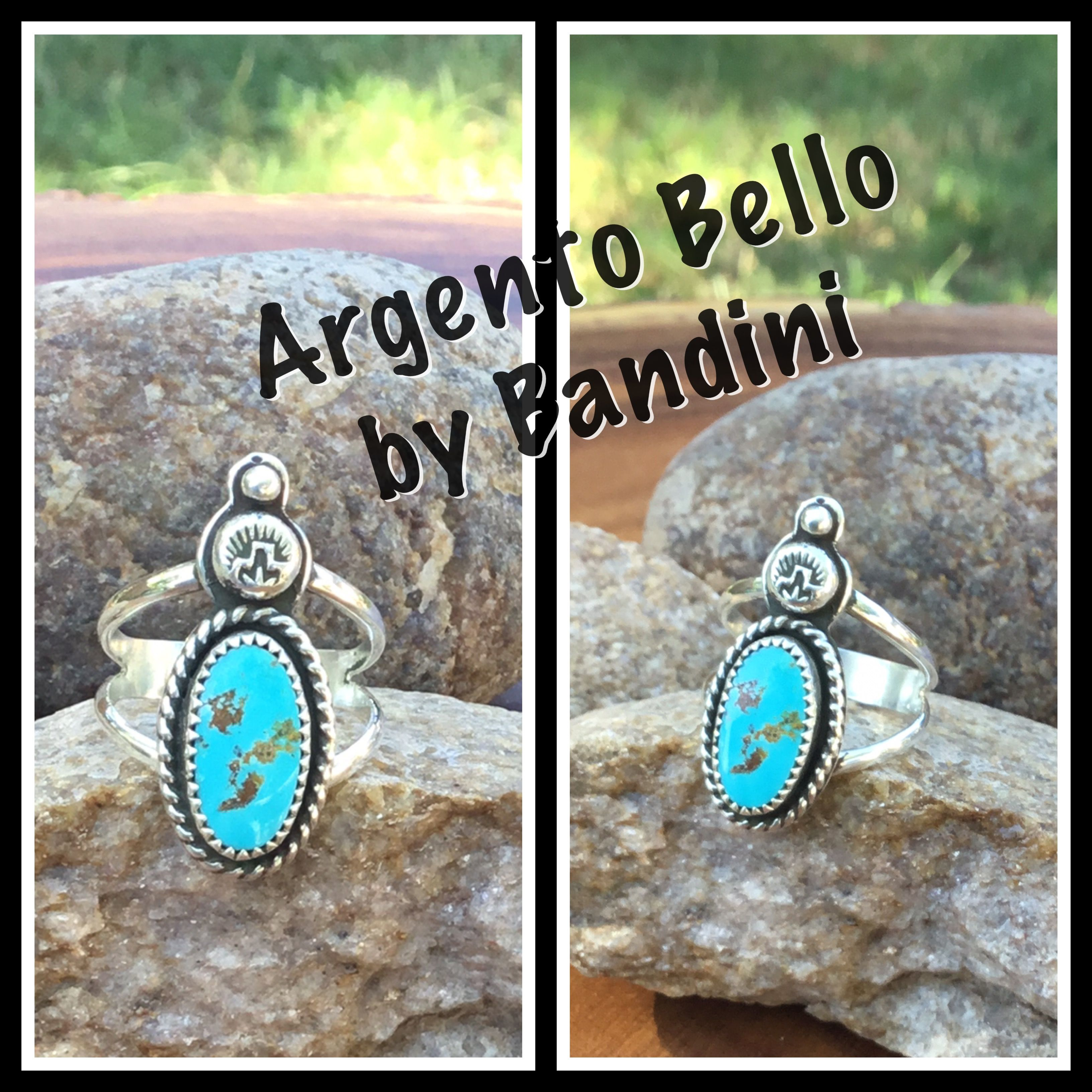 Argento Bello artist Amberlie Bandini. Turquoise, stamped Sterling ring.