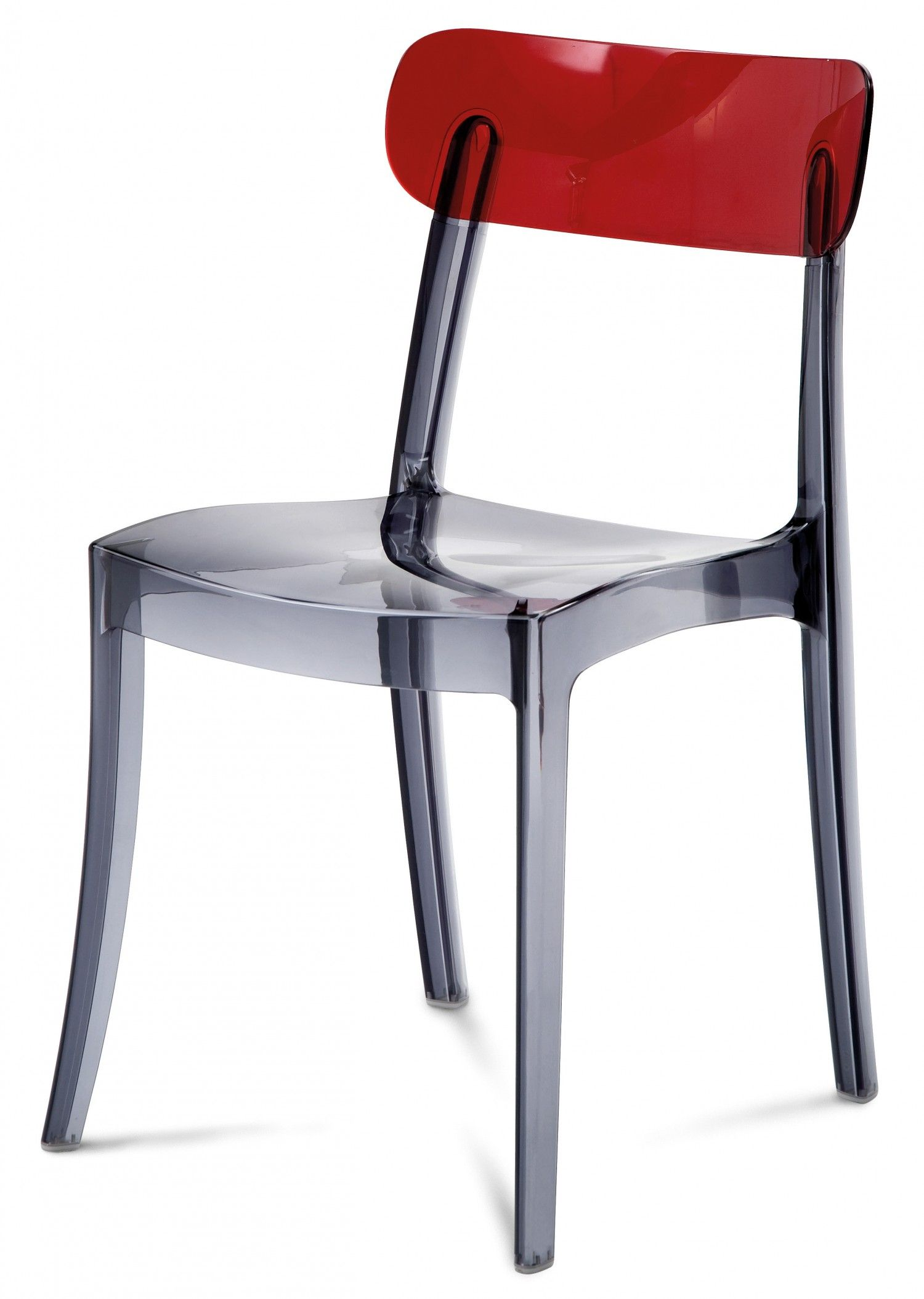 Domitalia new retro stacking chairtransparent red