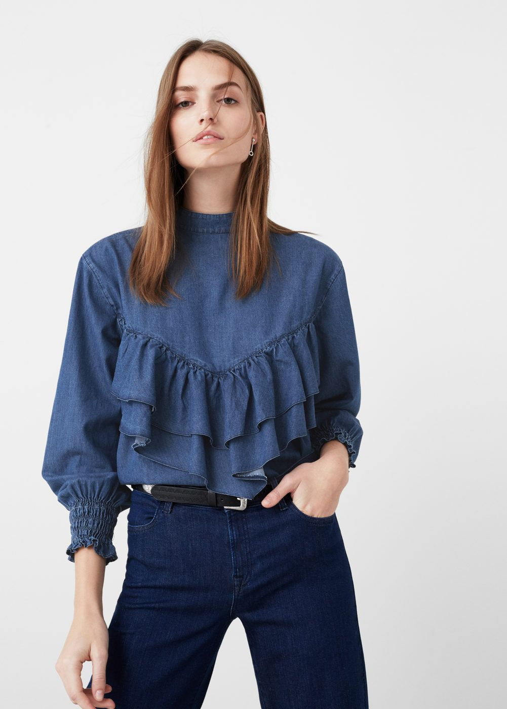 4955aad572 Blusa denim volante - Mujer in 2019