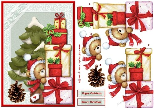 Cute Christmas Teddie by Marijke Kok Very cute christmas card with a