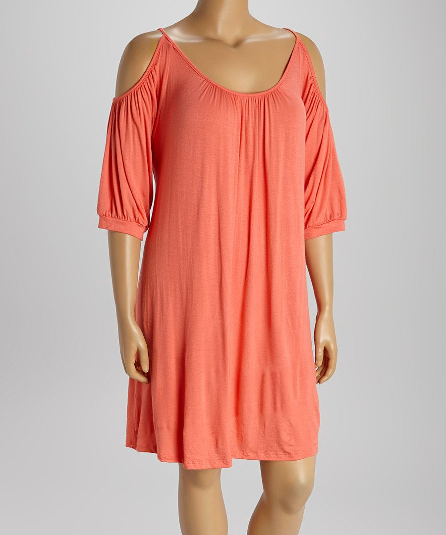 Look at this poliana plus peach cutout dress plus on zulily today