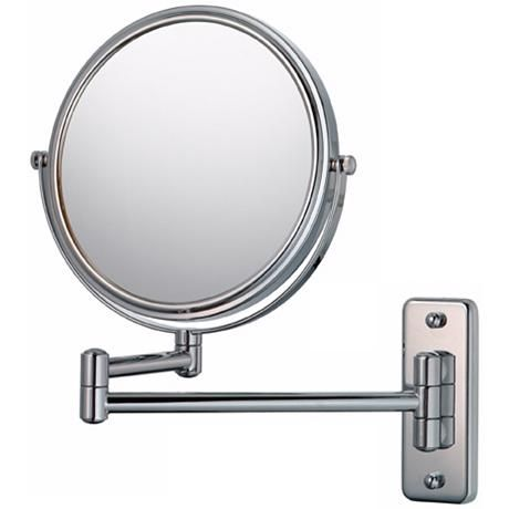 Aptations Silver Chrome 5x Magnifying Makeup Wall Mirror 50733 Lamps Plus Mirror Wall Wall Mounted Mirror Magnification Mirror