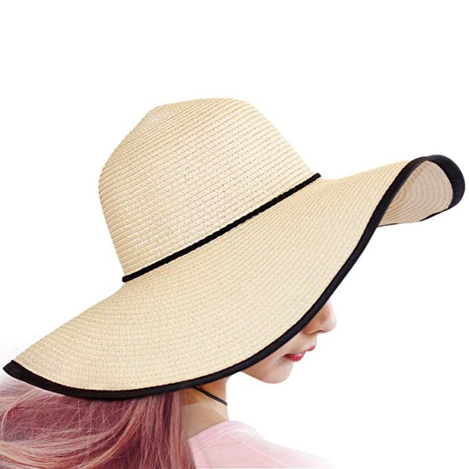 5c1a14292 TouchandFeel Women Girls Straw Sun Hat Foldable Floppy Wide Brim ...