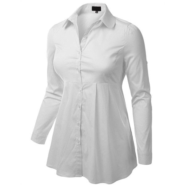 ecc333ea6 ($75) ❤ liked on Polyvore featuring tops, plus size button down shirt, long  sleeve shirts, plus size white tops, white button ...