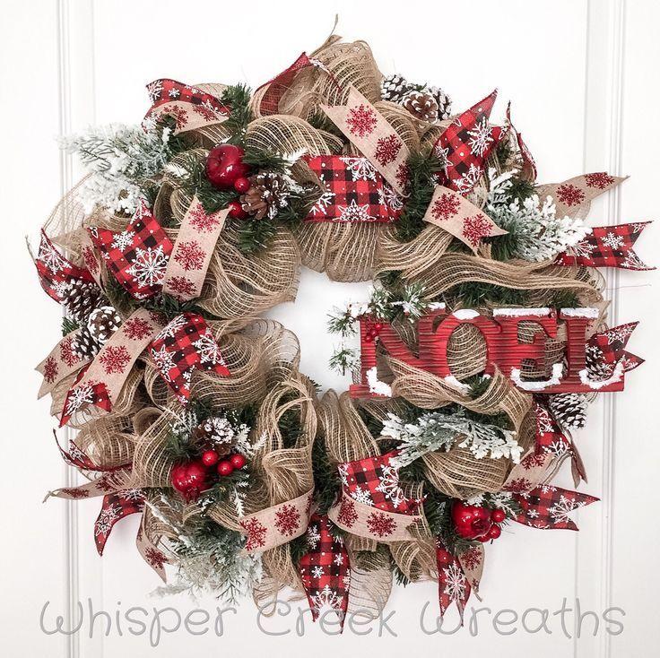 Noel Burlap Deco Mesh Wreath, Christmas Wreath for Front Door