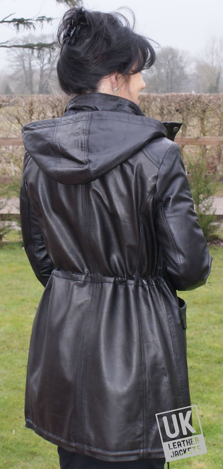 Hooded Leather Coats for Women | Women's Hooded Leather Coat in ...