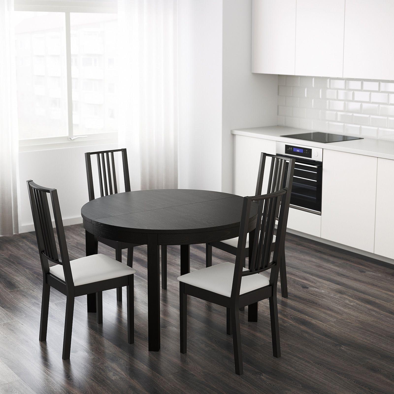 Bjursta Extendable Table Brown Black Ikea Oformlenie Obedennogo Stola Kvartirnaya Mebel Idei