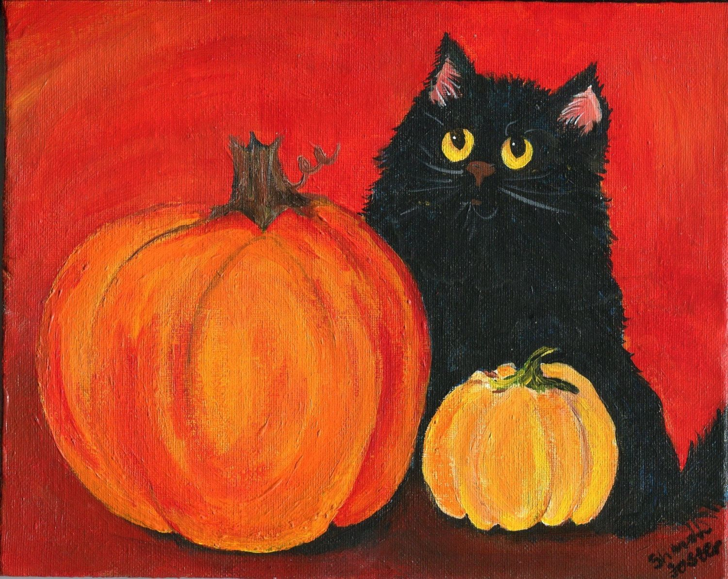 Small Pumpkin Painting Black Cat Pumpkin 5 X 7 Print From My Acrylic Painting Canvas Art