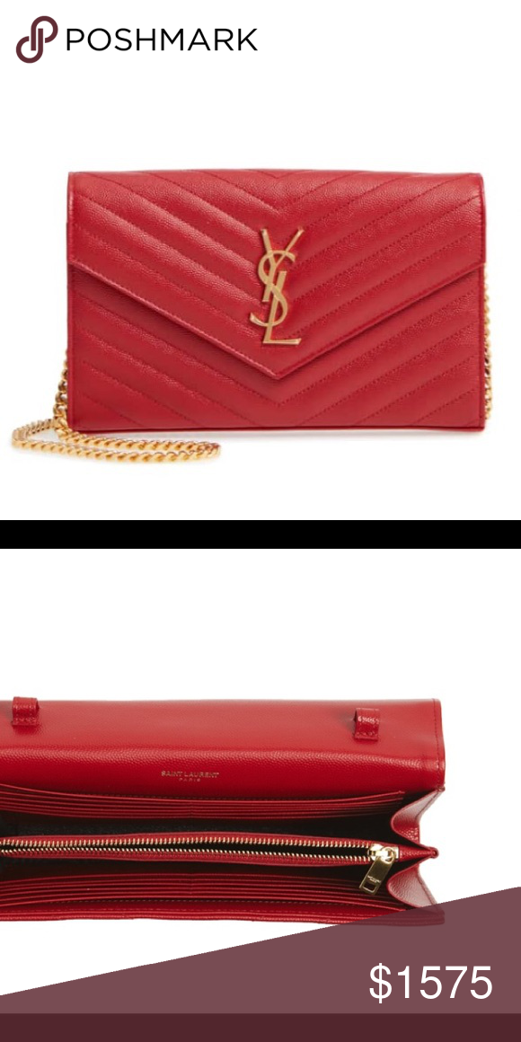"""3b22dedfc4c35 YSL """"Large Monogram"""" Quilted Leather Wallet Chain Red YSL leather wallet on  chain. Never been used. Original tags and box included Yves Saint Laurent  Bags ..."""