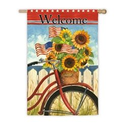 Summer Ride Welcome House Flag Hiddentreasuresdecorandmore House Flags Garden Flags Outdoor Flags