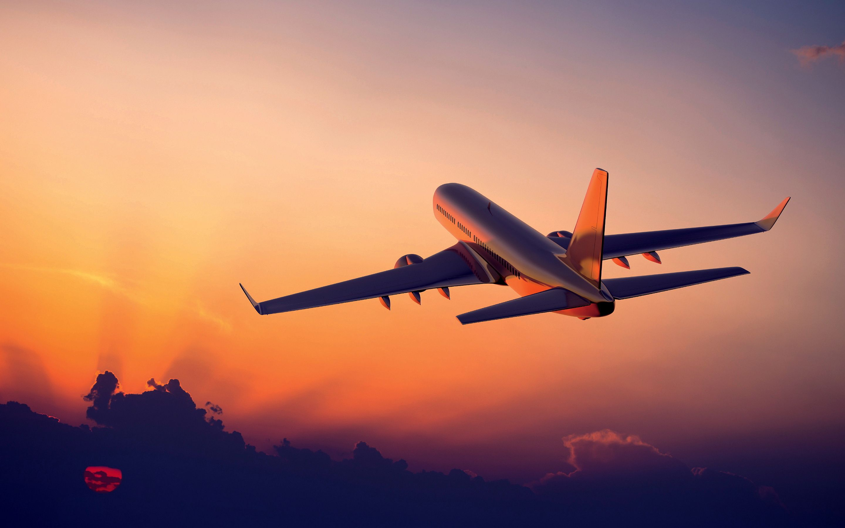 Airplane Flight Sunset Wallpapers Pictures Photos Images