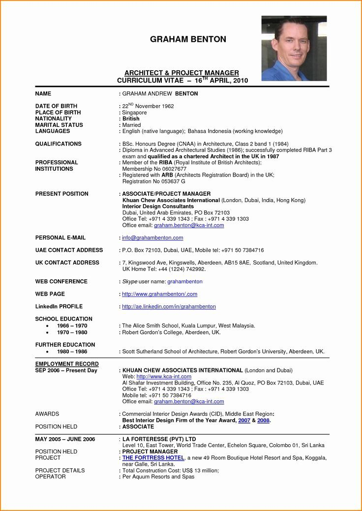Federal Resume Example 2020 Luxury Project Architect