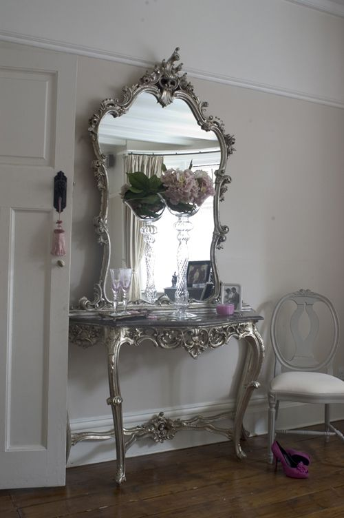 Silver antiqued distressed finish console table and matching mirror